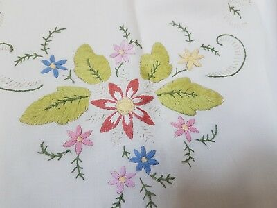 Vintage Hand Embroidered tablecloth summer  flowers with centre display & border