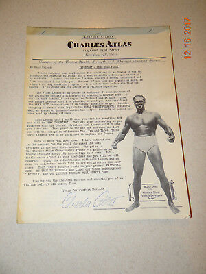 Charles Atlas Body Building Exercise Lesson 1, Signature looks real not stamped