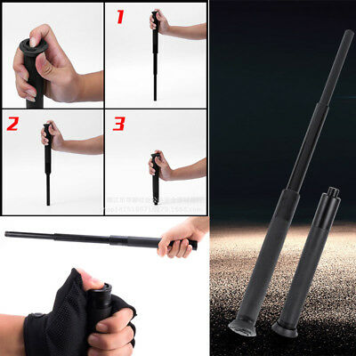 Black Mechanical Telescopic Stick Appliance Tactical Tool Training Non-slip