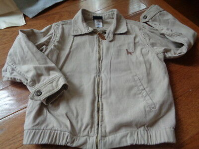 T.F. Laurence 6 Tan zip up jacket. Embroidered Dog. leather pull on zipper. CUTE