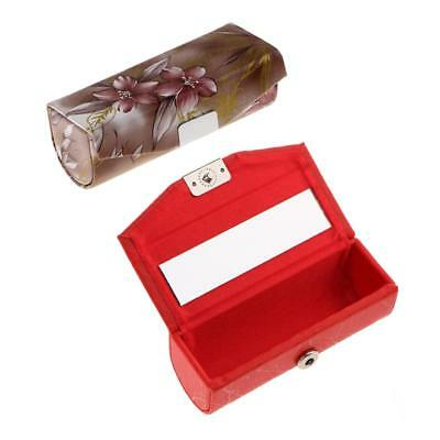 2pcs Portable Women Lipstick Box Retro PU Leather Handmade Lip Gloss Case