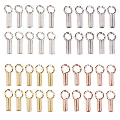 10pcs 925 Sterling Silver Tube Crimp Beads Stopper End for Jewelry Making
