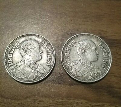 2 Thiland/siam 1 Baht Silver Coins, 1916 And 1917 King Rama Vi, With 3 Elephants