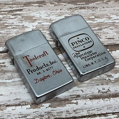 Lot of 5 - 1957-1958 Vintage Slim Zippo Lighter Cases - NO INSERTS - Advertisers