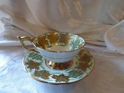 ROYAL STAFFORD  La Vigne D'or teacup and saucer green gold gilt leaves footed