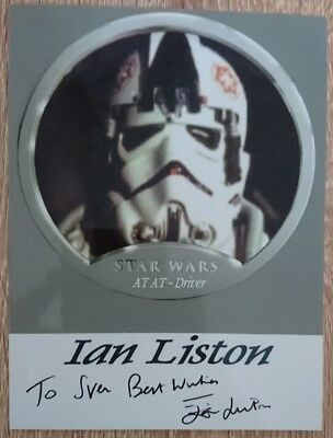 Ian Liston original Autogramm auf Foto, autograph, Star Wars, AT AT Driver