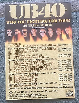 UB40 Who You Fighting For Tour A5 U.K. tour Flyer 25 Years Of Hits