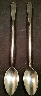New England Silverplate Antique 1919 Rosemary Iced Tea Spoons Set of 2