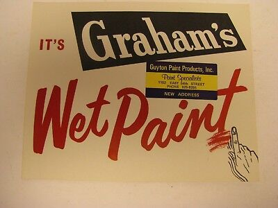 Graham's Wet Paint Advertising Cardboard Grocery Country Store Sign Promotion