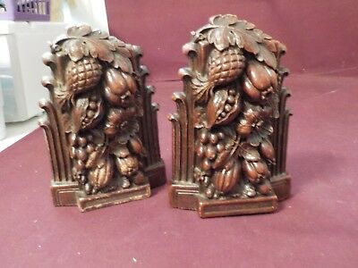 Vintage Pair Of Bookends With Nuts & Flowers Syroco Wood Made Usa Syracuse Ny