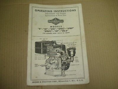 """1935 Briggs & Stratton """"8"""" Models Operating Instructions Manual & Parts List"""