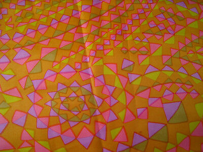 Vintage ACETATE fabric 1960s geometric PASLEY fabric burnt ORANGE pinks LILAC