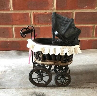 Small antique buggy pram baby doll stroller doll carriage Victorian Black