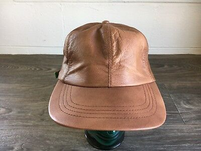 aeecbf7778a CABELAS HAT Leather Strap back Baseball Cap Vtg USA Made Brown Adjustable  EUC!
