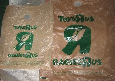2 Toys R Us LARGE SIZE BROWN PLASTIC SHOPPING BAG LOT Babies Geoffrey Toy Store