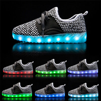 2017 Infant Baby Toddler Kids Light Up LED Shoes USB Rechargeable Casual Sneaker