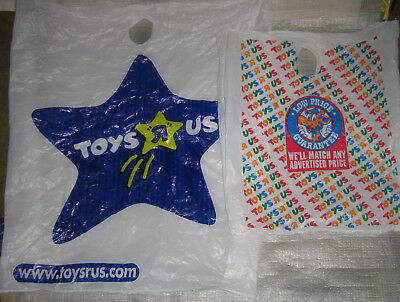 Vintage Toys R Us LARGE SIZE PLASTIC SHOPPING BAG LOT Geoffrey Giraffe Toy Store