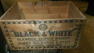 Vintage BLACK & WHITE Blended SCOTCH WHISKY wood CRATE J. Buchanan Phila PA 1957