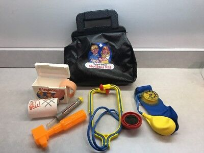 Vintage Fisher Price Medical Kit Bag Set 80s 90s Toys Thermometer Stethoscope