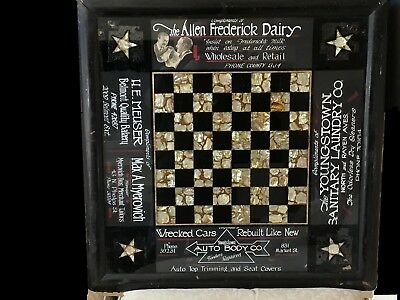 Antique Tavern Advertising Checkerboard Real Shell Pearl & Onyx Ca1910 Fantastic