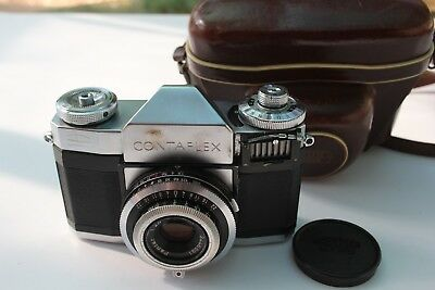 Zeiss Ikon Contaflex Slr Camera W/ 45Mm F2.8 Pantar Lens Cap And Case