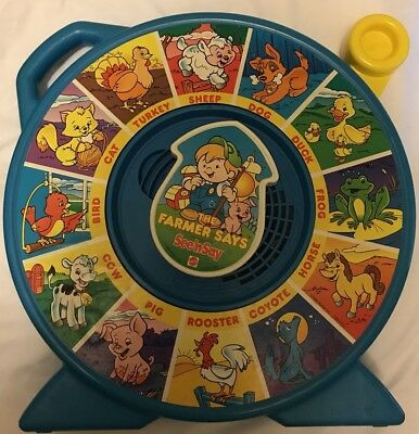 1989 Mattel Fisher Price SEE 'N SAY The FARMER SAYS - TESTED/Clean - Kids Toy