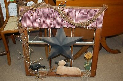 Country Styled Wood Window Sash Hanging Decoration Star Flower Lamb Primitive