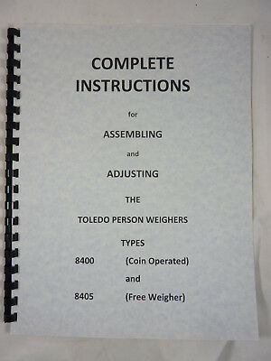 Toledo Scale Co Coin Operated Penny Scale Assembly & Adjustment Manual 8400  8405