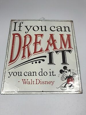 Disney Mickey Mouse If You Can Dream It You Can Do It Tin Metal Sign-New