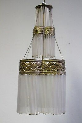 Antique  Art Nouveau Art Deco Bras & Glass Pendant Lamp, circa 1910, Spain