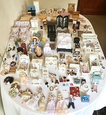 Dolls House Furniture Job Lot Bundle Victorian Dolls Accessories Food