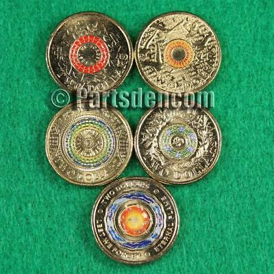 5 x $2 two dollar coins coloured Anzac Day 2015 17 18 Remembrance Day 15 17 coin