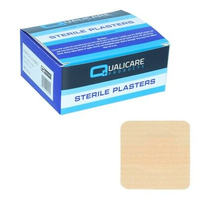 100x QUALICARE SQUARE FABRIC PLASTERS 38mm x 38mm First Aid Wound Cut Dressing