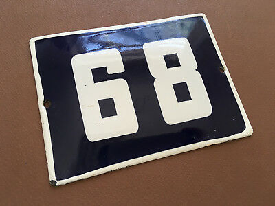 ANTIQUE VINTAGE ENAMEL SIGN HOUSE NUMBER 68 BLUE DOOR GATE STREET SIGN 1950's
