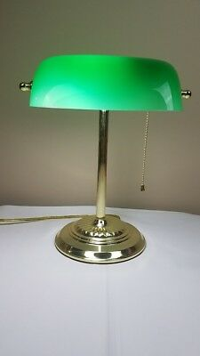 Vintage Piano Banker Desk Lamp Emerald Green Glass Shade With Polished Brass
