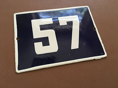 ANTIQUE VINTAGE ENAMEL SIGN HOUSE NUMBER 57 BLUE DOOR GATE STREET SIGN 1950's