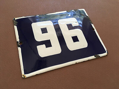 ANTIQUE VINTAGE ENAMEL SIGN HOUSE NUMBER 96 BLUE DOOR GATE STREET SIGN 1950's