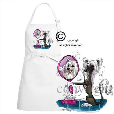 Chinese Crested Dog Breed Cartoon Caricature Mirror Image Kitchen Chef Apron