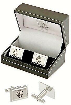 Glasgow Rangers Fc Silver Plated Crest Mens Executive Cufflinks Rfc Gift Boxed