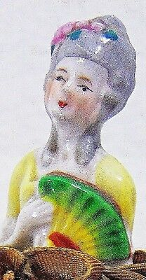 Sew Victorian Lady Pin Cushion Porcelain Antique Doll Figurine 1920 Vintage Home