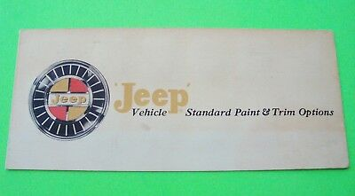 ca 1962 WILLYS JEEP FACTORY COLOR CHIPS BROCHURE All Models CJ-6 Panel Delivery
