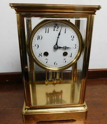 french brass cased 4 glass libary clock