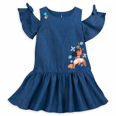 Authentic Disney Store Moana Woven Cold Shoulder Denim Dress Girl Size:9/10 Slim