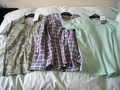 Three Brand New Ladies Casual Tops Two Medium And One Size 14.