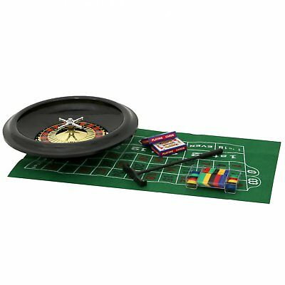 "NEW! 40cm 16"" Roulette Wheel Set Including Felt, Chips, Cards & Rake"