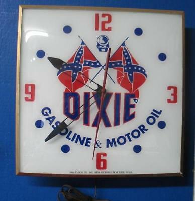 Vintage Pam Lighted Clock Advertising DIXIE GASOLINE & MOTOR OILS