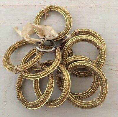 9 Large Antique Vintage French Brass Gilt Tole Ware Curtain Rings