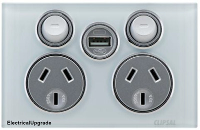 Clipsal Saturn Offer Double Power Point 4025USBC With USB Charger in all colours
