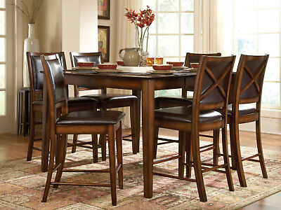 CAMPO 7pc Cottage Oak Walnut Dining Room Set - SQUARE Counter Height Table Chair