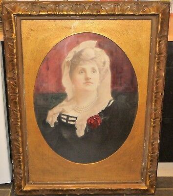 Large Early 20th Century Portrait of A Lady Oil On Canvas Signed and Dated 1902
